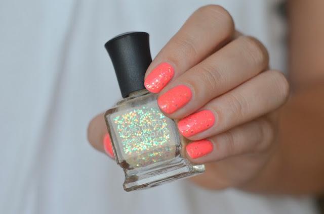 Coral Neon Pink Glitter polish