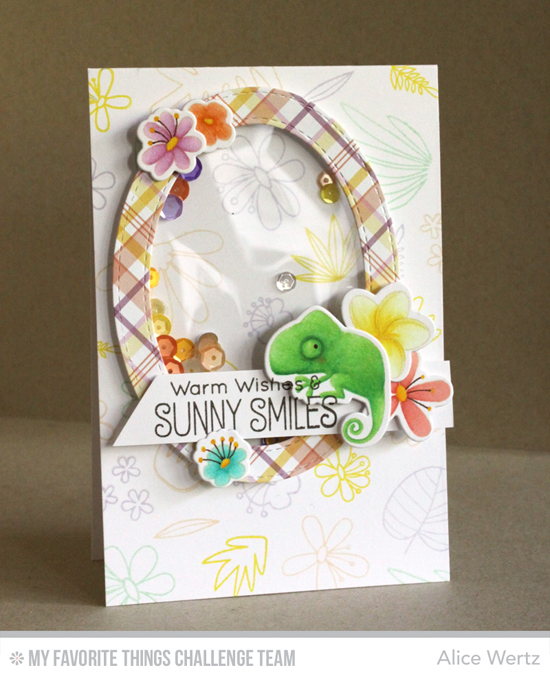 Sunny Smiles Card by Alice Wertz featuring the Birdie Brown Polynesian Paradise stamp set and Die-namics and the Blissful Blooms stamp set and Die-namics #mftstamps