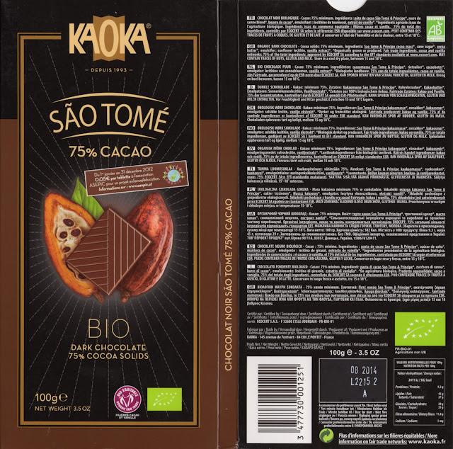 tablette de chocolat noir dégustation kaoka bio noir sao tomé 75