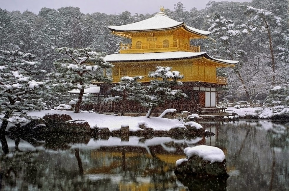The Temple of the Golden Pavilion in Japan