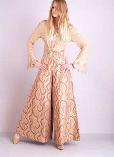 Vintage gold brocade high waisted Oscar de la Renta palazzo pants.
