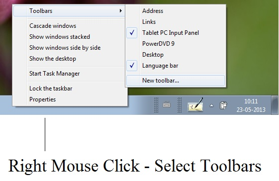 Create Toolbar in Windows 7