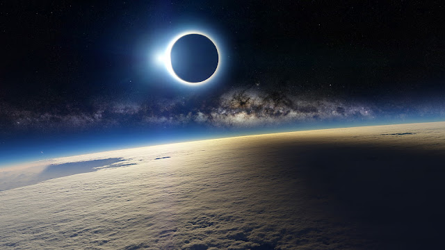 Space solar eclipse / 3D wallpaper