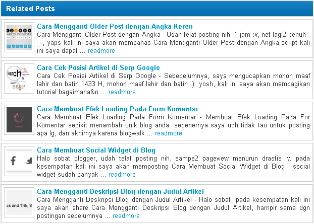related post artikel terkait berbentuk list vertikal lengkap dengan thumbnail, judul, link, dan cuplikan atau ulasan singkat