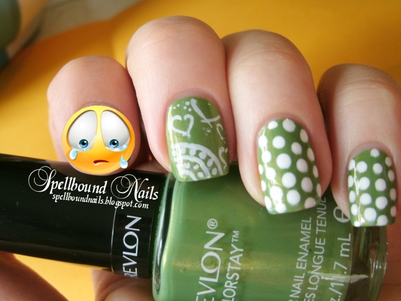 Revlon Colorstay Bonsai green nail polish nail art stamped