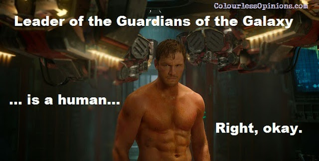 Chris Pratt topless as Star-Lord Peter Quill in Guardians of the Galaxy movie still meme