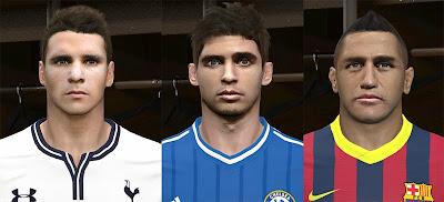 PES 2014 Alexis, Lamela and Oscar Face by WN