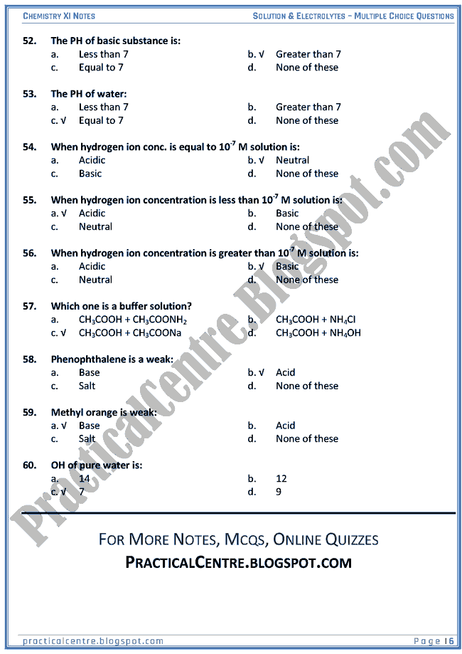 Solutions And Electrolytes - MCQs - Chemistry XI
