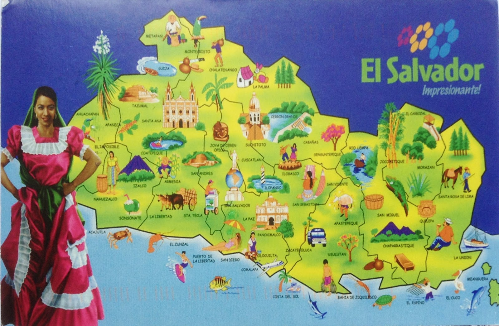 Postcard Footprints From Around The World El Salvador Map - Cities map el salvador map