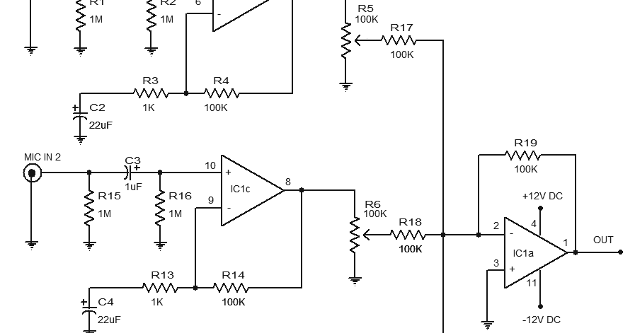 microphone pre amplifier circuit diagram using lm348 ic the circuit