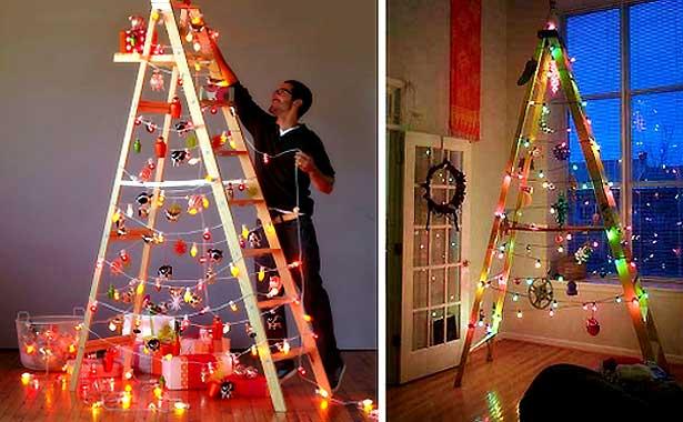 Escalera de madera para decorar tu hogar en navidad for Adornos navidenos para escaleras