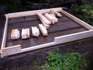 concrete base for a log cabin