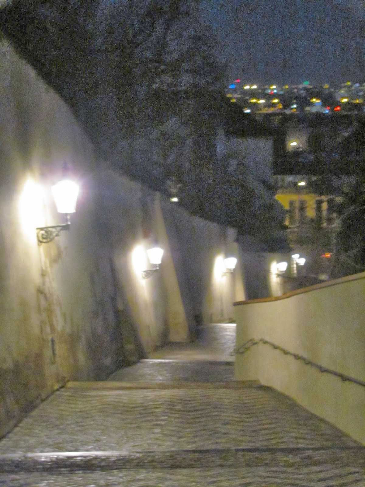 Prague Castle Steps at Night