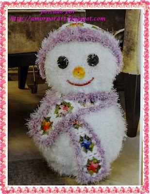Boneco de Neve de Crochê