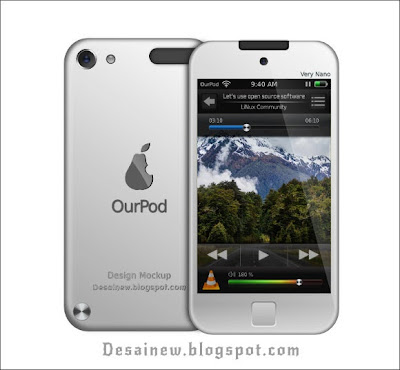 Desain vektor iPod Nano Elegan atau OurPod di inkscape svg download free gratis