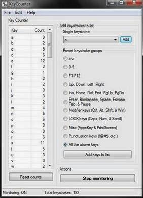 Keycounter: Software Menghitung Jumlah Tombol Keyboard Yang Ditekan