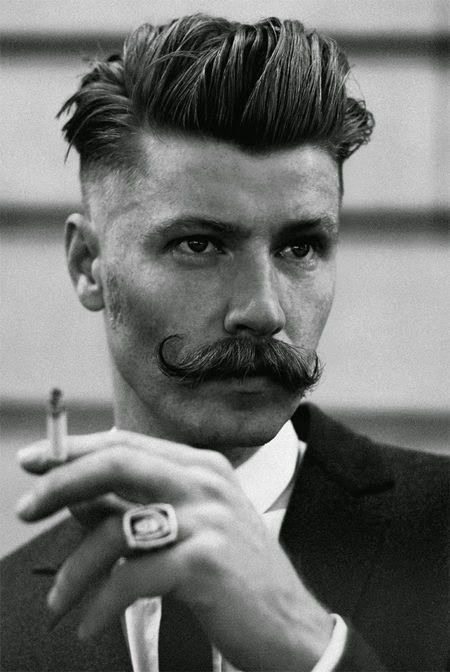 Undercut Hairstyle Men and Handlebar Mustache