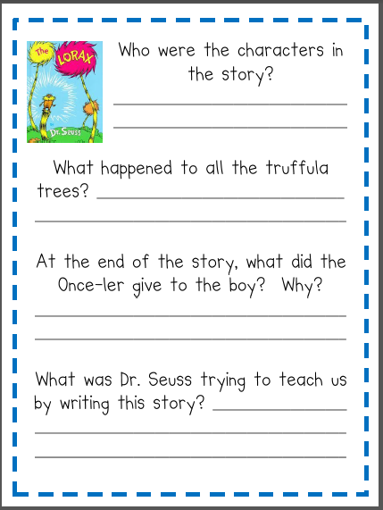 math worksheet : the lorax worksheets dr seuss  the best and most comprehensive  : Dr Seuss Worksheets For Kindergarten
