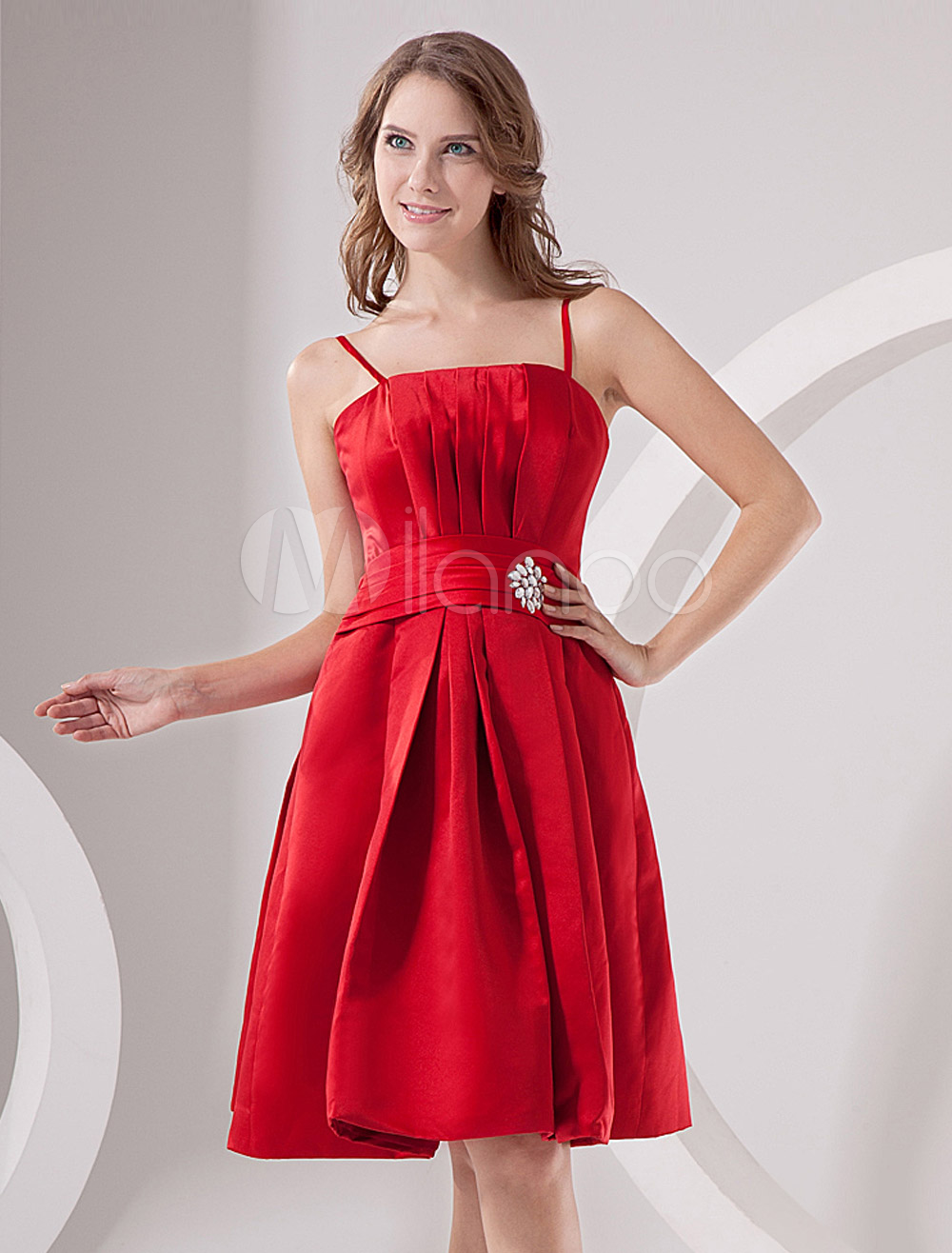 China Wholesale Dresses - Red Satin Empire Waist Strapless Homecoming Dress