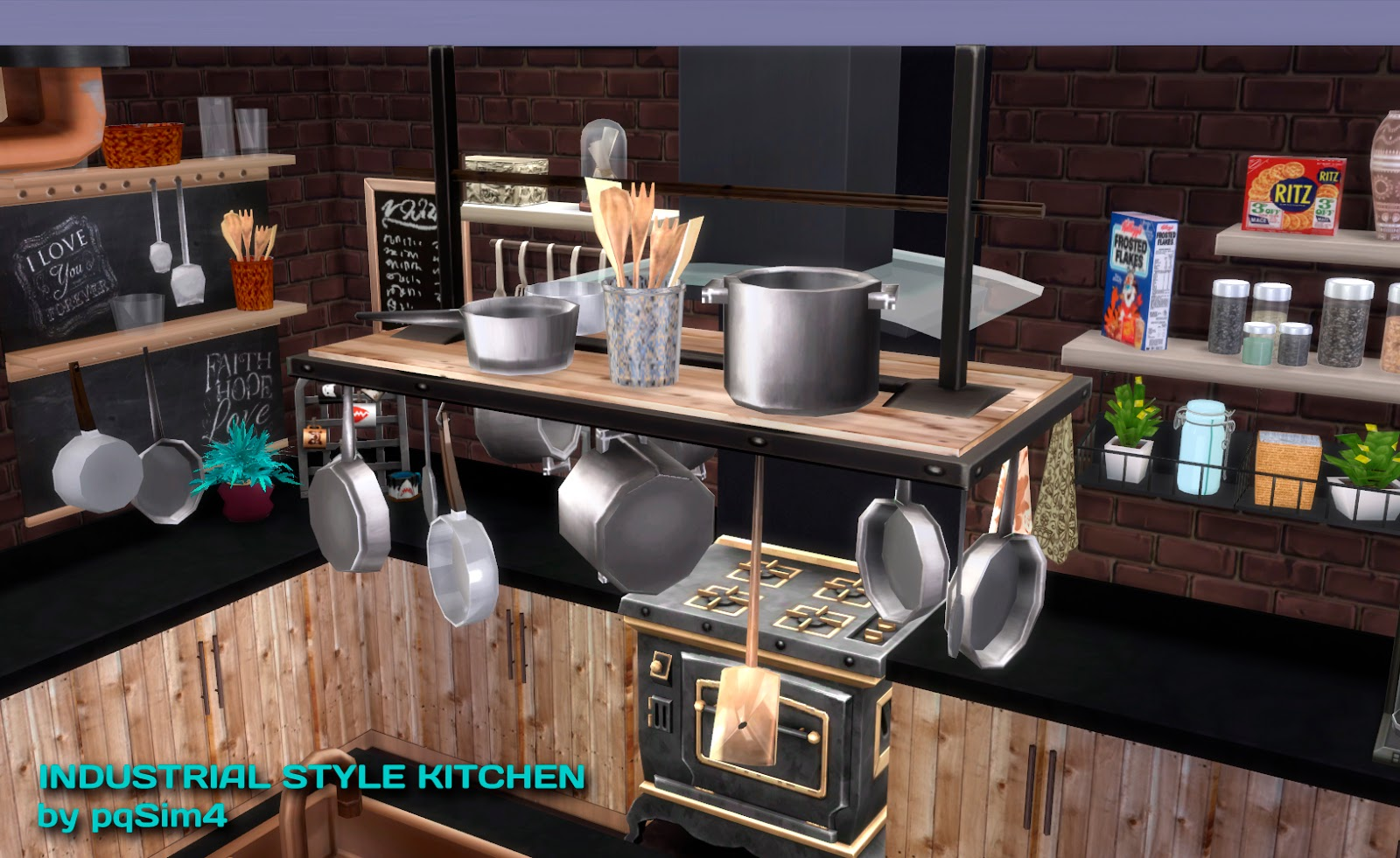sims 4 cc's - the best: industrial kitchen set by pqsim4, Badezimmer ideen