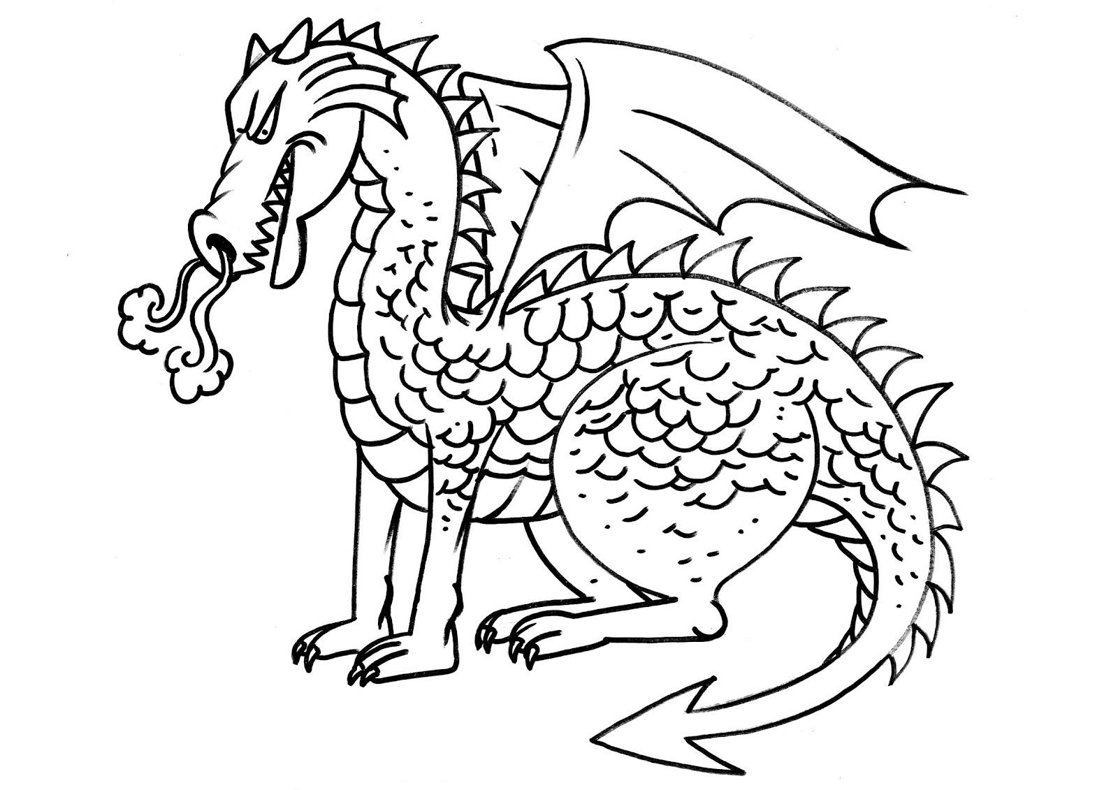 Desenhos Preto e Branco Esses Dragon perigosos Colorir