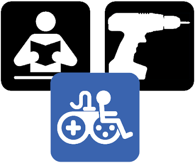 DIY Game Accessibility in symbols. Image of a person reading a book. Image of a drill. Image of the Game Accessibility Information symbol below on blue background.