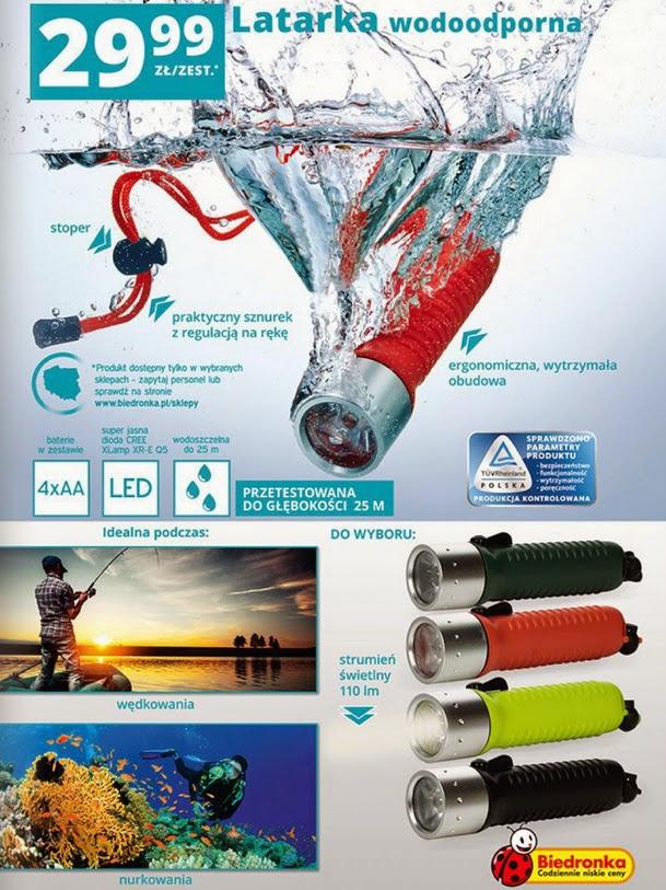 Latarka wodoodporna CREE Q5 z Biedronki ulotka