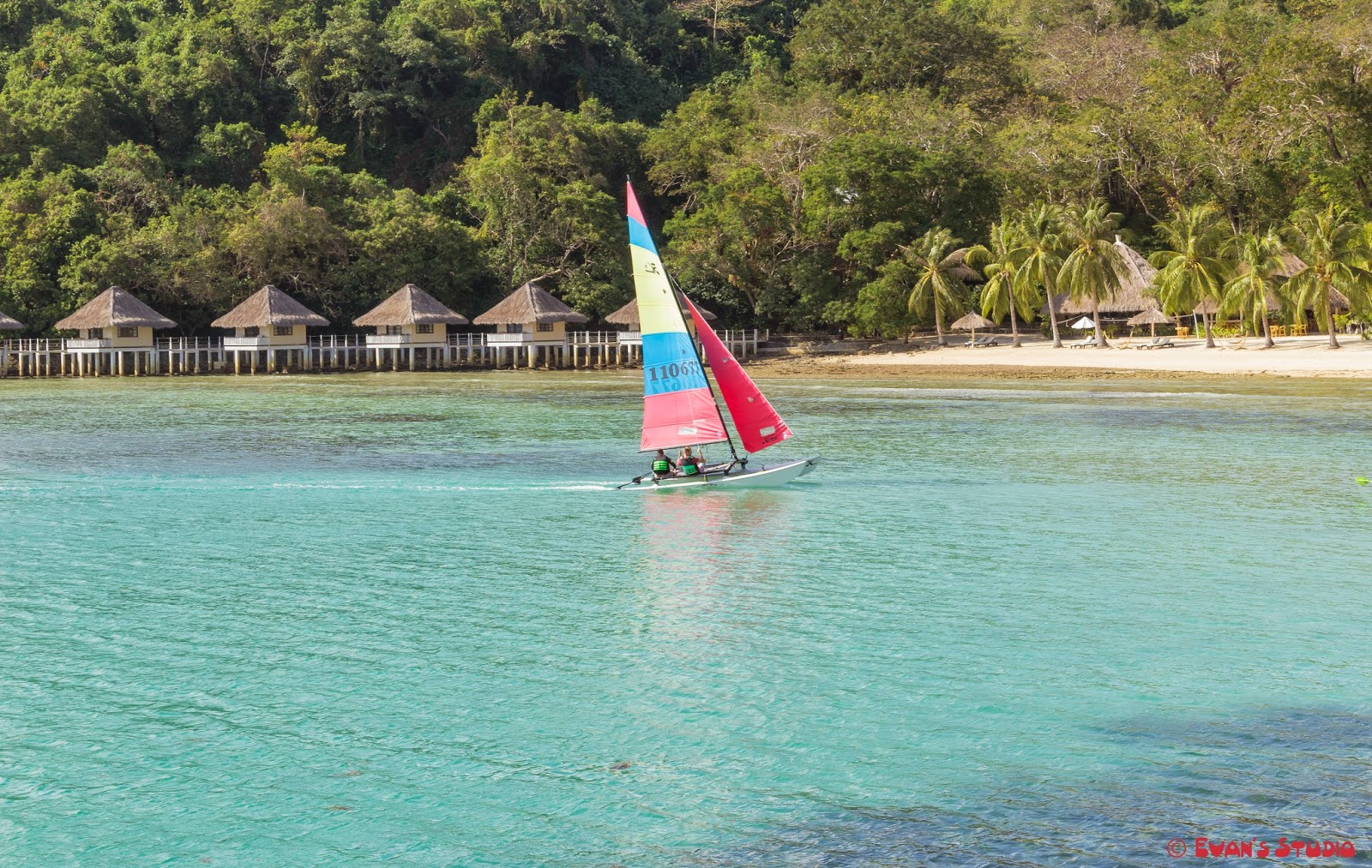 Sailing at the Apulit Island Resort in the Philippines.