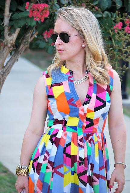 summer dresses, cotton dress, fractal prism split neck dress