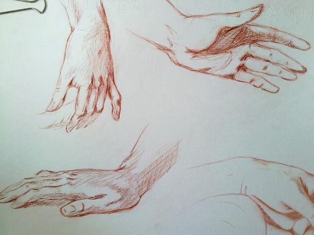 manos dibujadas con sanguina