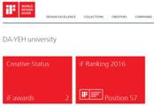 大葉大學榮登2016年 iF全球頂尖設計大學前60大排名榜!設藝學院學生 近七年囊括12座iF與紅點設計大獎,已達世界級實力