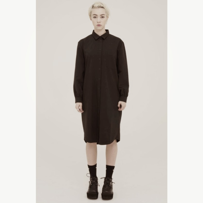 WhitePepper Oversized Shirt Dress Black