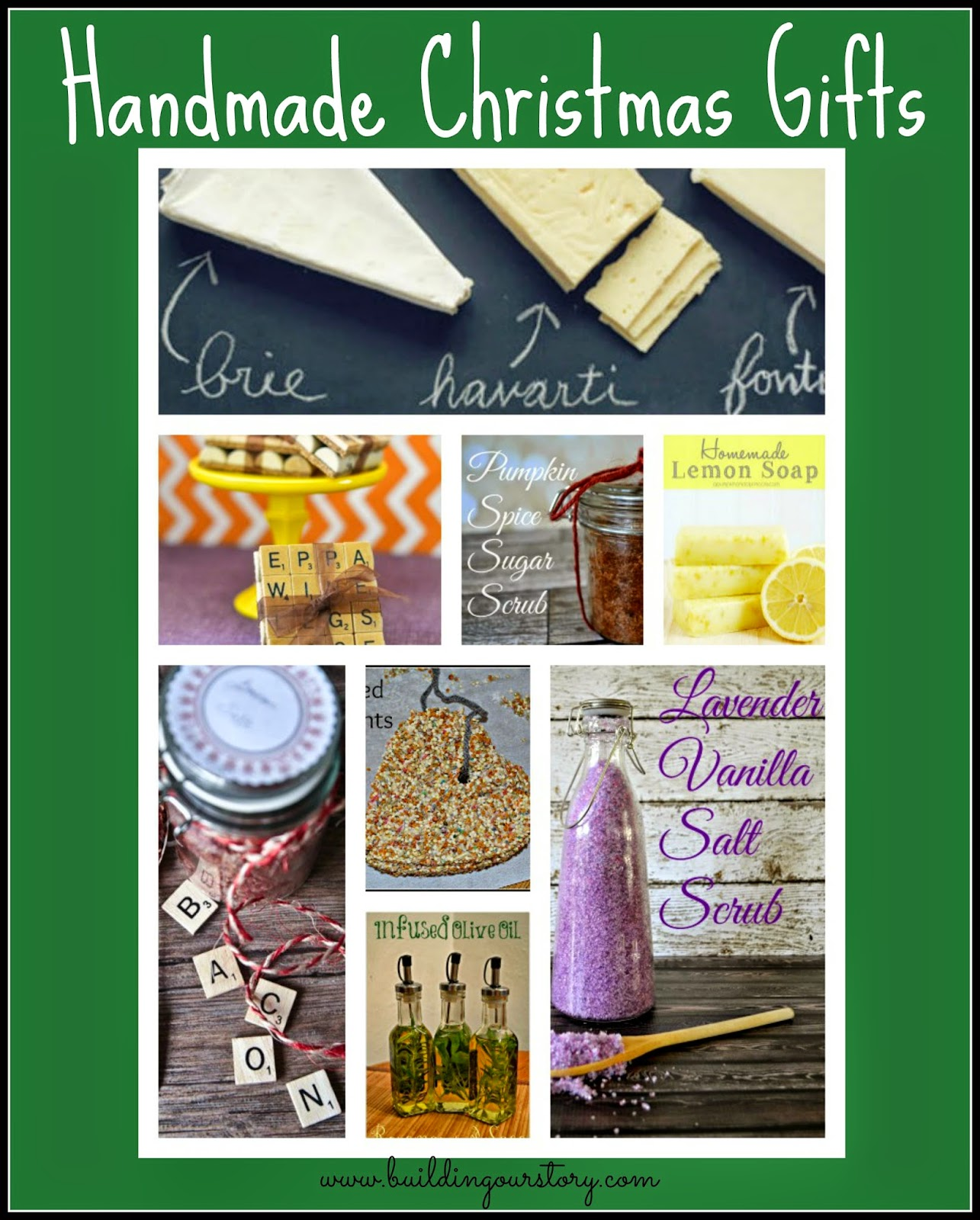 Lovely Handmade Christmas Gifts #DIY. Easy DIY Christmas Gifts. DIY Gifts.  Handmade gifts.  Herb Infused Olive Oil DIY. Rosemary Mary Mint Shaving Cream. Bacon Salt Recipe.  Lavender Vanilla Salt Scrub.  Handmade Soap.  Lemon Soap.  Wine Cork Coasters.  DIY Coasters.  Chalkboard Serving Platter.  Pumpkin Spice Sugar Scrub recipe.  Bird Seed Ornaments.