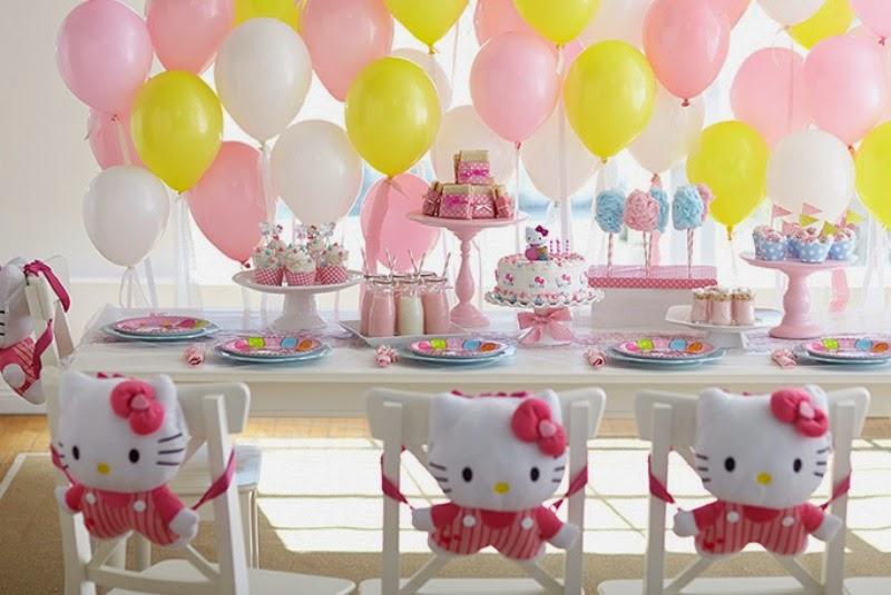 Balon dekorasi ulang tahun tema hello kitty