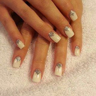 Acrylic backfill, LED polish manicure with diamond glitz tapped in reverse French. - Nail Art