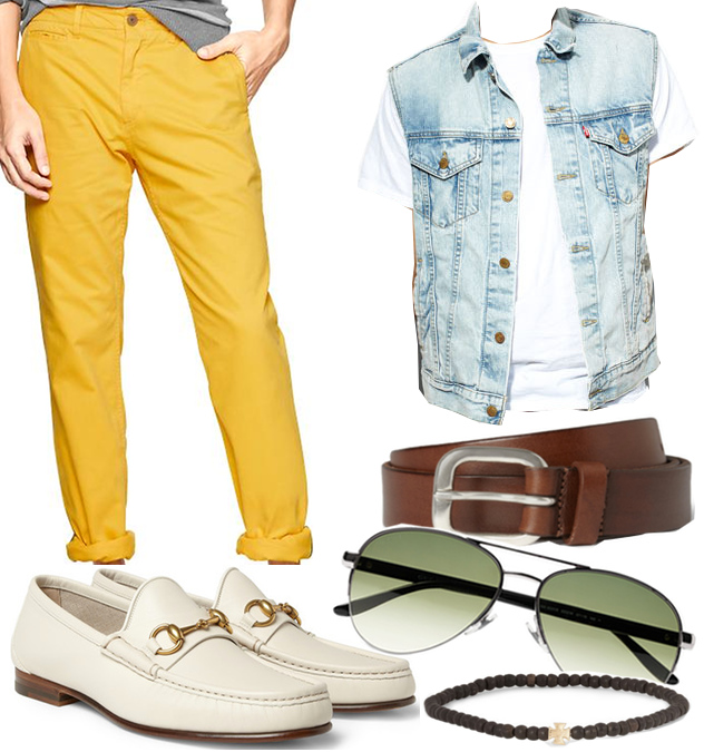 Gap men's colored pants - outfit collage
