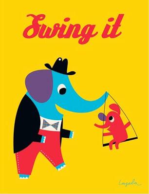 elephant swing on a trunk illustration by Ingela Peterson Arrhenius