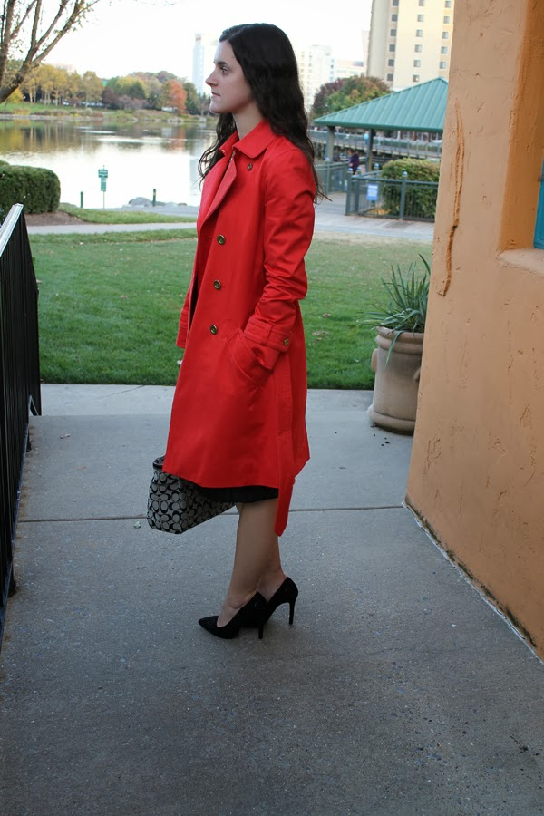 Coach trench coat, chevron dress, pleated Target skirt, Zara heels, Coach bag