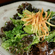 Salad with Fried Parnip Garnish