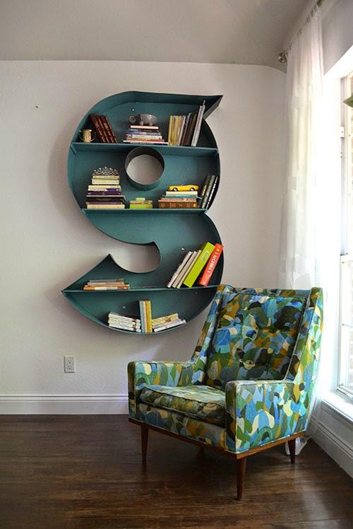 diy letter bookshelf
