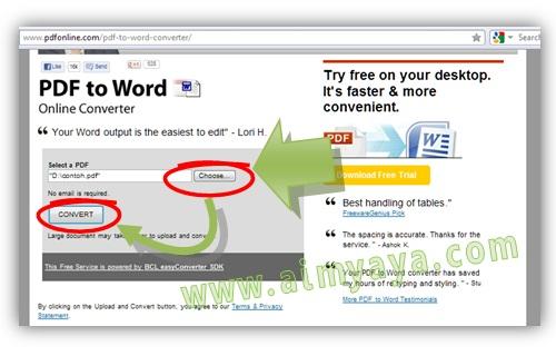 Gambar: Langkah 2. Cara melakukan Convert PDF to WORD secara online.  Konversi file PDF ke word menggunakan pdfonline. Masukkan file PDF yang akan di konversi ke word