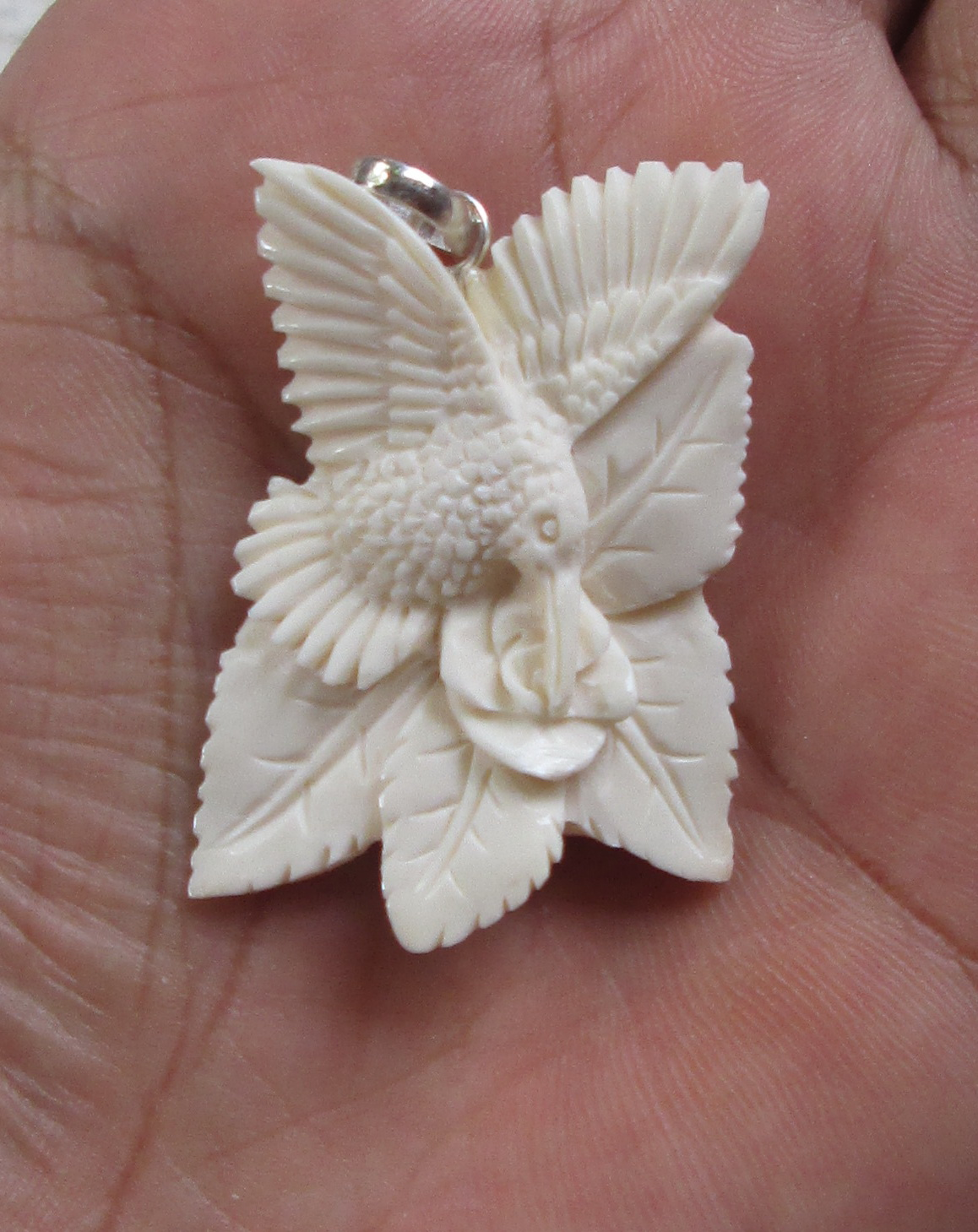 Humming Bird Carved Bone Pendants with Flower