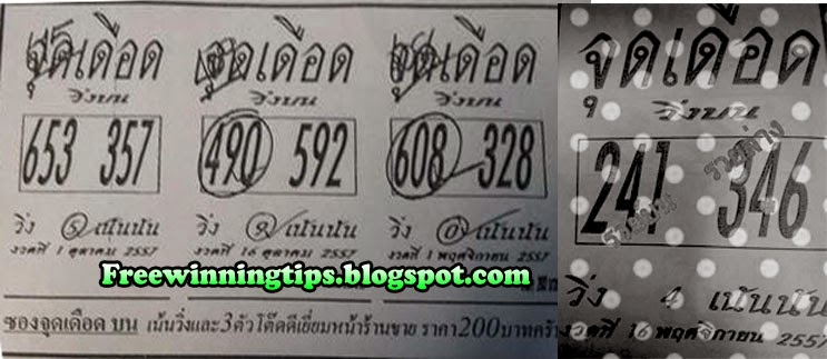 Thai Lottery Hot single and Direct Tip 16-11-2014