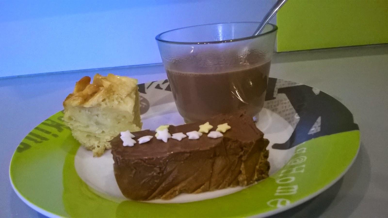 Chocolat chaud, gâteau aux pommes, piège aux spéculos