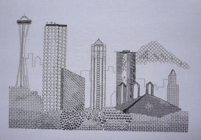 Embroidery Outside The Box Seattle Skyline In Blackwork
