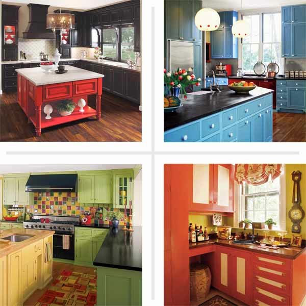 colorful painted kitchen cabinets design ideas