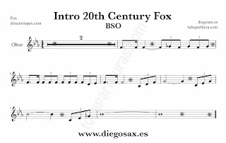 Partitura de la Sintonía de la 20th Century Fox para Oboe by Alfred Newman Sheet Music for Oboe Music Scores