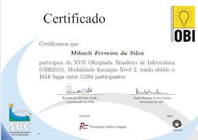 1º Lugar na escola - 1.641 do Brasil na OBI nível II de 15.394 participantes