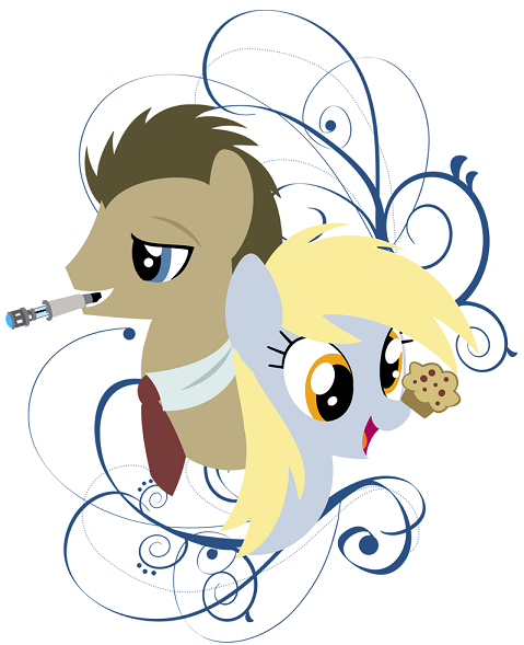 Another design along the same lines and this time featuring Doctor Whooves and Derpy and a Weeping Ang... Wait, where'd that thing go?