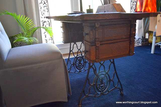 Vintage sewing machine cabinet turned into a desk via Worthing Court blog